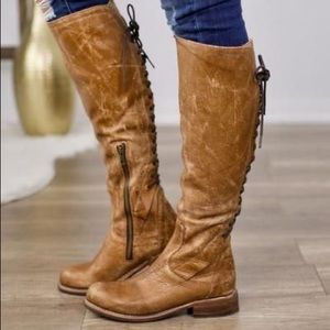 Bed Stu Surrey Tall Caramel Lux Lace Up Boots